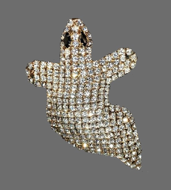 Halloween Ghost brooch pin. Swarovski crystals