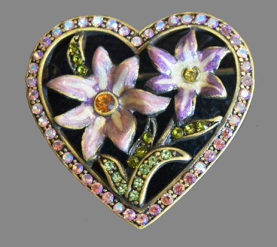 Heart and Flower Pin. Gold tone, enamel, crystals