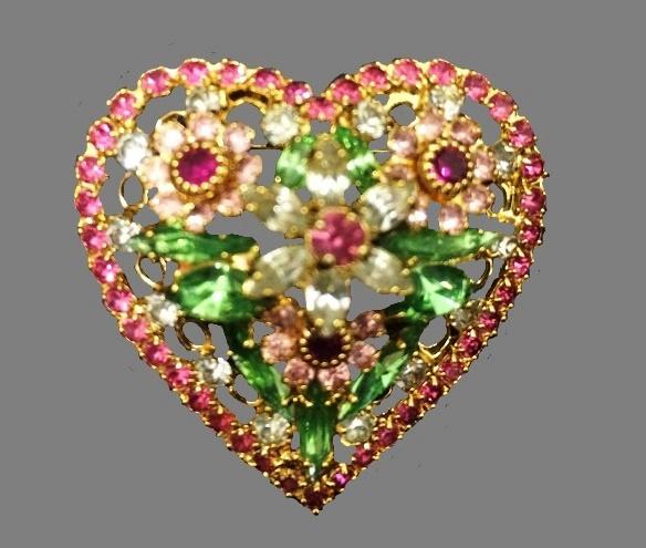 Heart brooch. Gold tone, rhinestones. 1980s