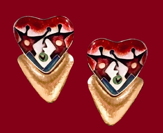 Heart shaped modernist earrings. 22k gold, silver, cloisonne enamel