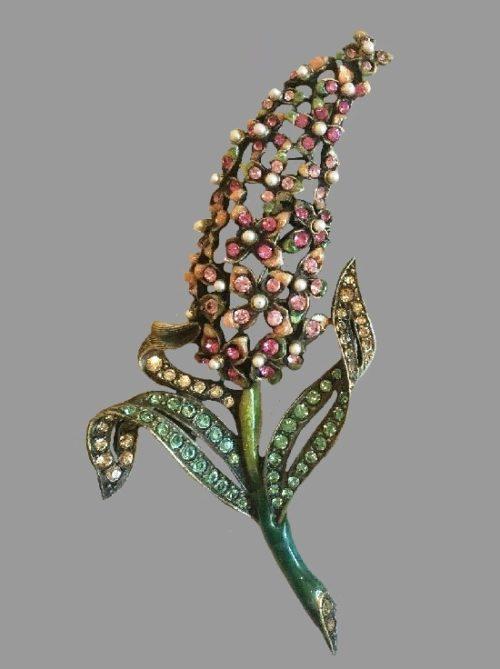 Hyacinth flower brooch decorated with Swarovski crystals