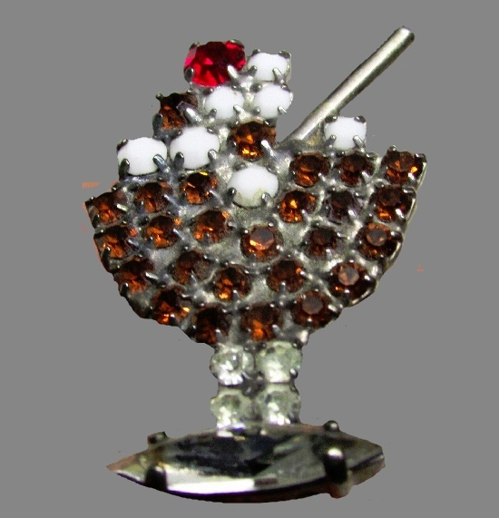 Ice Cream Sundae Pin Brooch. Gold tone metal, rhinestones