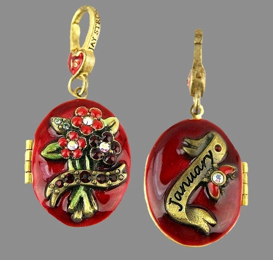 January Birthstone locker pendant. Gold tone metal, Swarovski crystals, enamel