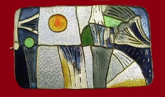 Landscape brooch. Sterling silver, enamel
