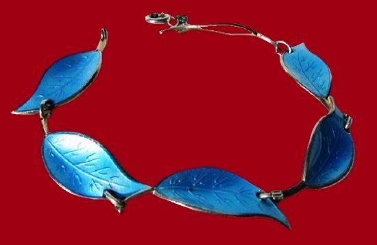 Leaf Bracelet. Blue enamel, sterling silver