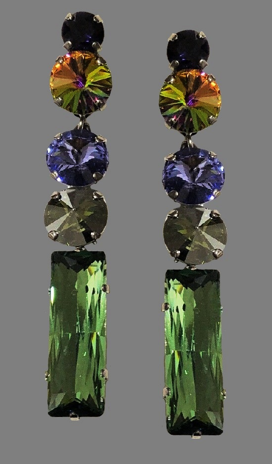 Long multicolor crystal earrings