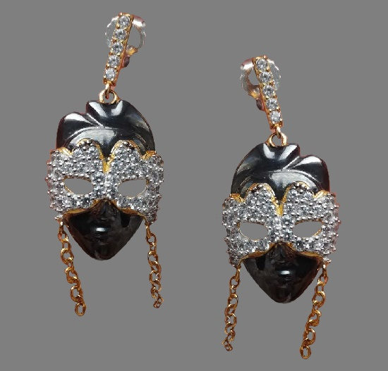 Sonia B design vintage jewelry. Mask earrings. 925 silver, Swarovski crystals, enamel. 1990s. 4 cm