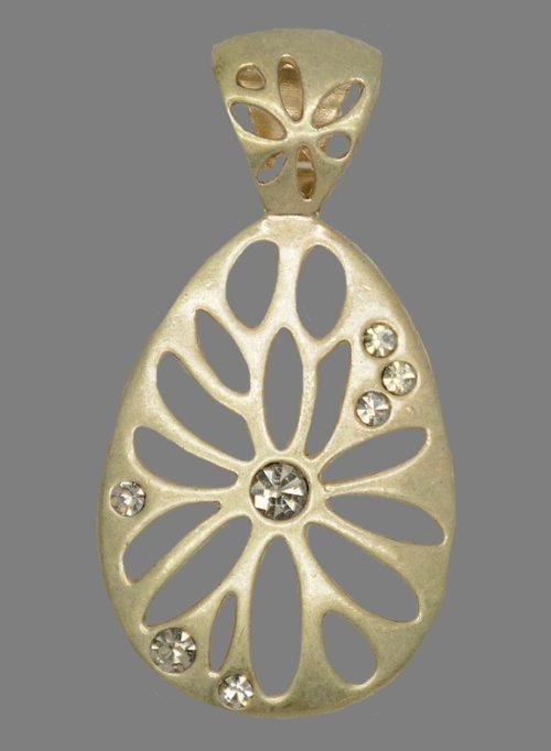 Matte gold tone drop shaped openwork flower pendant
