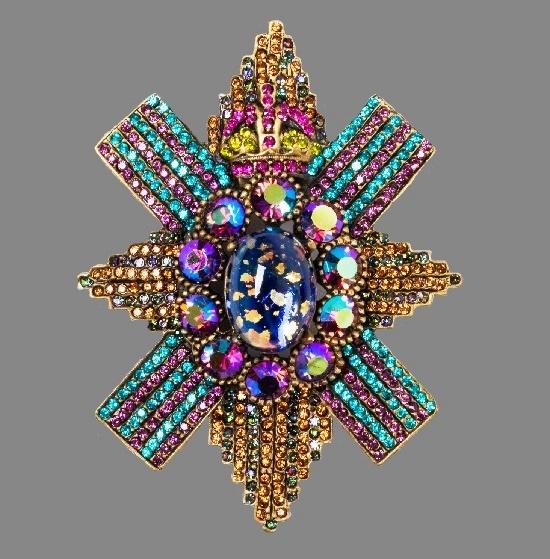 'Mercer' Double Cross brooch. Multicolor crystals