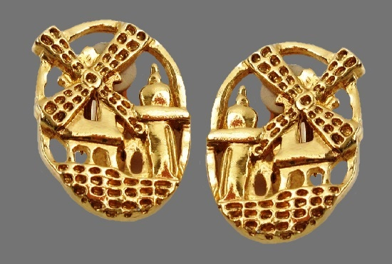 Moulin Rouge design clip on earrings, gold tone