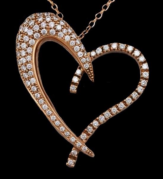 Open heart pendant. 14K Rose Gold 1.64ctw Diamond