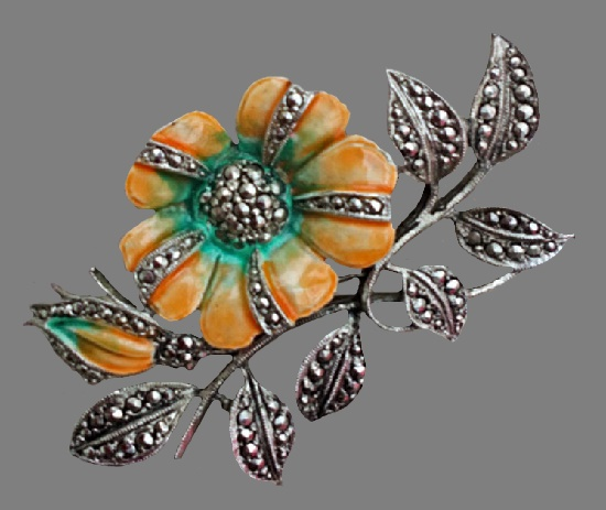 Orange flower enameled brooch. 6 cm, 1970s