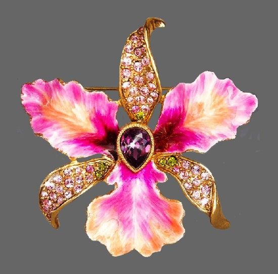Orchid brooch. Gold plated, Swarovski crystals, enamel