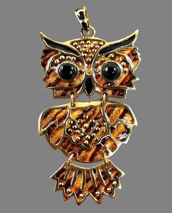 Owl Pendant. Gold plated, enamel, Tiger's Eye