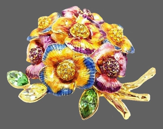 Pansy Flower Bouquet brooch pin. Gold tone metal, enamel, Swarovski crystals
