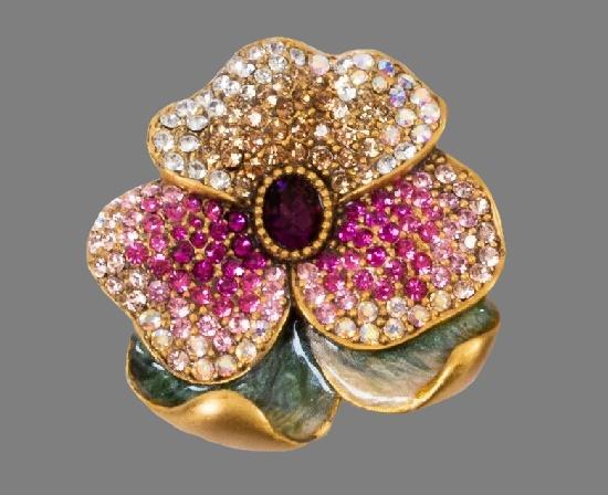 Pansy Flower brooch pin. Gold tone, enamel, rhinestones