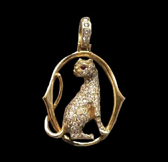 Panther pendant. 18K Gold Diamond Encrusted, ruby eyes