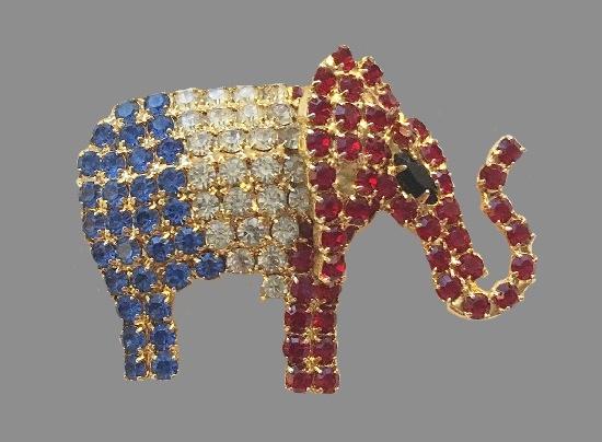Patriotic Republican Elephant Rhinestone Pin Brooch