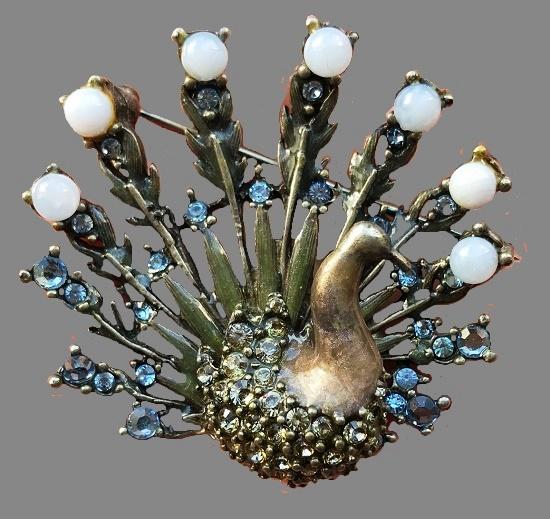 Peacock vintage brooch. 1980s. Enamel, Swarovski crystals, cabochons