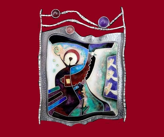 Pendant. Abstract design, cloisonne enamel, silver