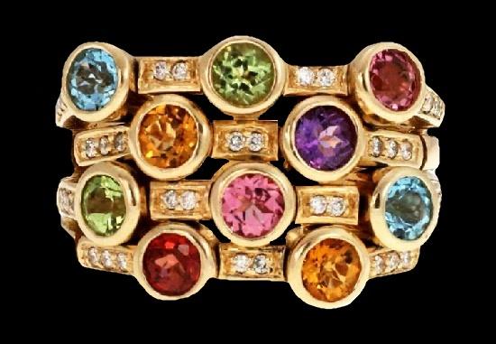Pink and blue topaz, citrine, peridot, garnet, 3 ct diamond 14 K gold ring
