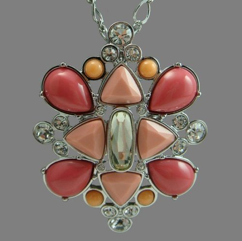 Pink and coral cabochons, clear rhinestones pendant