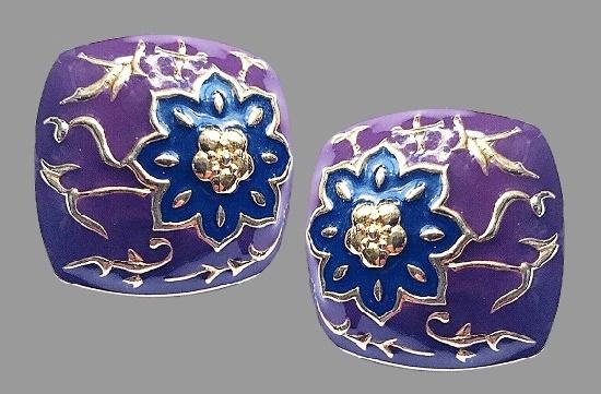 Purple gold flower pattern clip on earrings