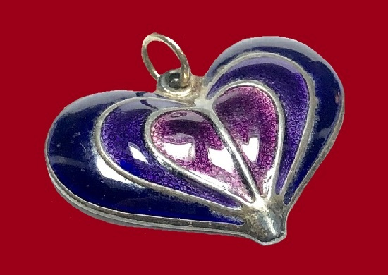 Purple heart enameled brooch
