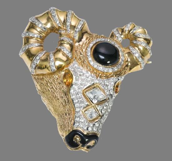 Ram or Aries zodiac sign brooch. Gold tone jewelry alloy, enamel, Swarovski crystals