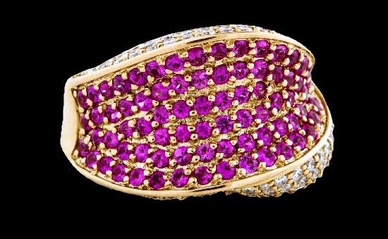 Red sapphire 4 CT diamond ring