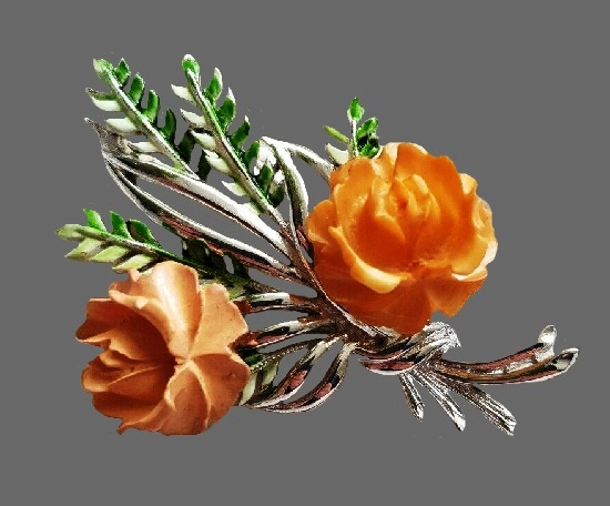 Rose brooch. Silver tone metal, enamel, celluloid