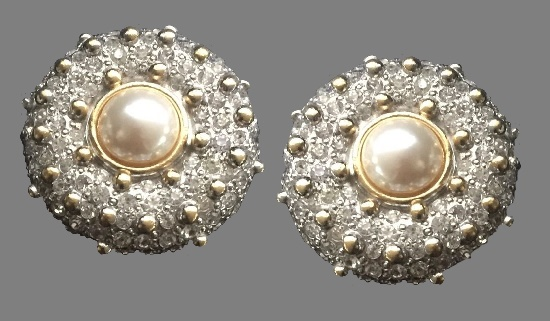 Round shaped earrings. Gold and silver tone metal, faux pearl, crystals