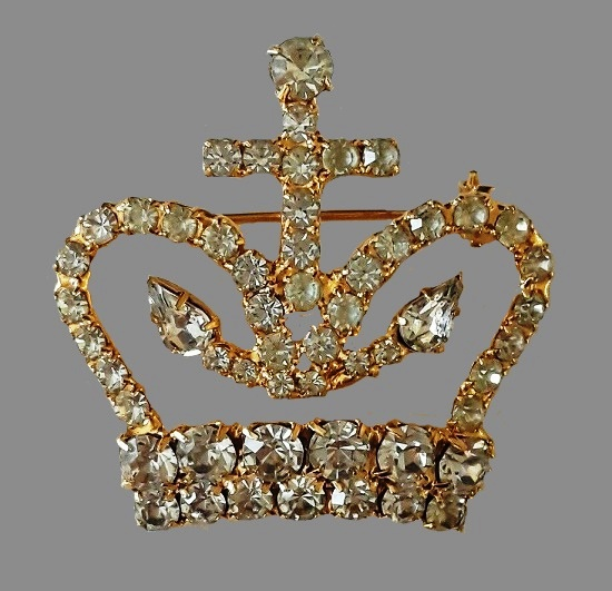 Royal crown gold tone metal, crystals