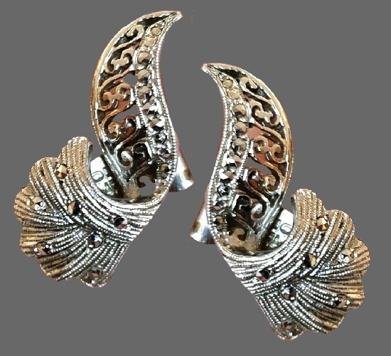 Silver tone marcasite clip on earrings