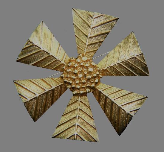 Snowflake Brooch. Textured metal alloy