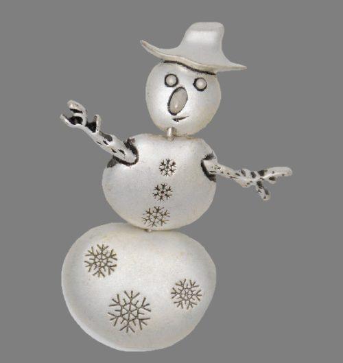 Snowman silver tone brooch