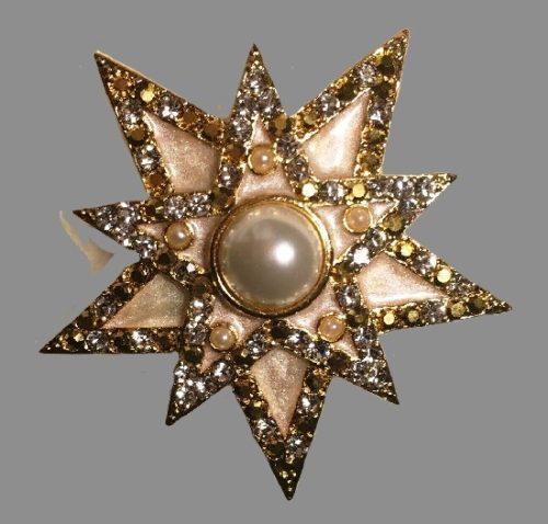 Star pendant. Enamel, crystals, gold-tone metal, pearl