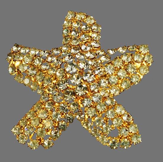 Starfish pin. Gold tone metal, Swarovski crystals
