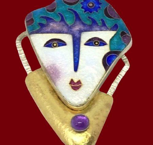 Sterling Charming pendant brooch. Silver and 22 kt Gold, cloisonne enamel