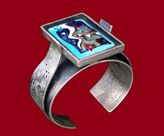 Sterling silver cloisonne enamel ring
