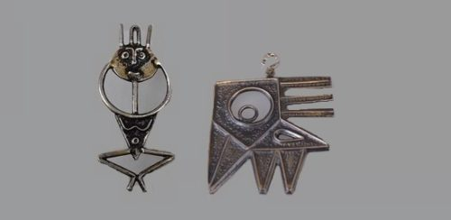 Tribal people and exotic bird pendants