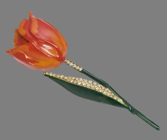 Tulip brooch. Jewelry alloy, Swarovski crystals, enamel