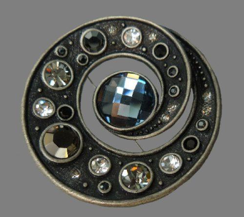 Universe celestial theme round brooch. Blackened silver, rhinestones