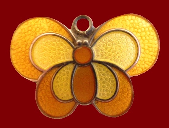 Yellow butterfly brooch pendant