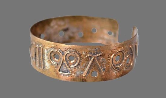 Zodiac signs bronze bracelet. 1960s
