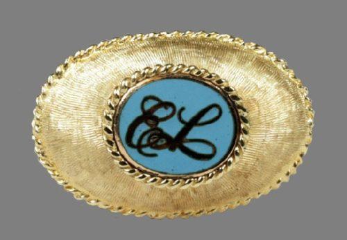 14K textured gold, logo engraved Florentine brooch, enamel, rope edging