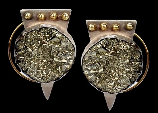 14k gold, sterling silver large earrings, pyrite cabochon inserts. 1990s