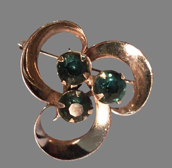 1950s brooch pendant blue rhinestones