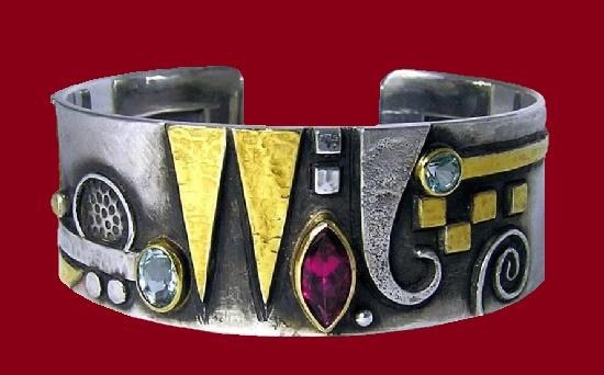 2014 bracelet. Silver, gold, pink tourmaline, aquamarine