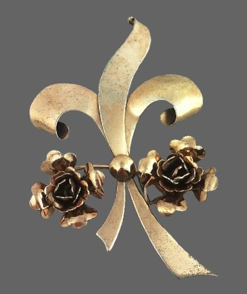 925 sterling silver vermeil, flower and ribbon brooch